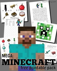 This free minecraft printable pack is HUGE with activities for PreK-4th grade. My Minecraft-loving kids are going to LOVE learning with Creepers and Diamond Swords.