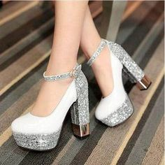 [Details about Fashion Women's Ankle Strap Platform Block High Heels Pumps Wedding Party Shoes - รองเท้า - Zapatos Ideas Bling Shoes, Prom Shoes, Women's Shoes, Dress Shoes, Dress Outfits, Gold Shoes, Bling Converse, Gold Pumps, Maxi Dresses