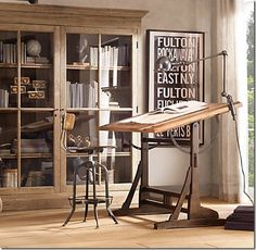 Vintage Toledo Stool and Drafting Table. A beautiful workstation.