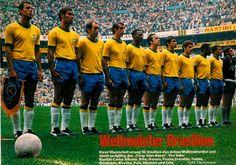 Brazil line up for the Mexico 1970 World Cup Final for Brazil versus Italy [4--1]--- left to right: (linesman), Carlos Alberto, Brito, Gérson, Piazza, Everaldo, Tostão, Clodoaldo, Rivellino, Pelé, Jairzinho, Félix.
