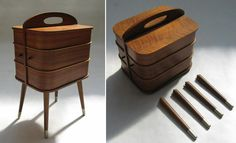 Wooden sewing box on legs in 'Danish modern' style