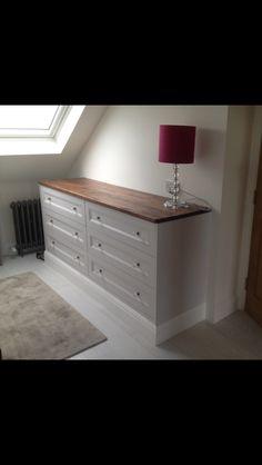 Handmade White chest of drawers.