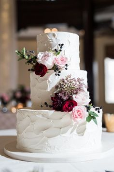 #FabFloraChicago #TwoBirdsPhotography FallWedding, CakeFlowers, WeddingCake, Burgundy, Romantic, Roses, WeddingFlowers, ChicagoFlorist.