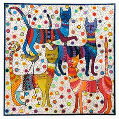 """The Long Necked Cats and the Long Legged Bird"", 40 x 40"", art quilt by Kathy York.  Wildlife Fabrications exhibit, SAQA."