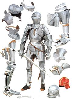 Medieval Armour and Shields Medieval Combat, Medieval Weapons, Medieval Knight, Medieval Fantasy, Armadura Medieval, Knight In Shining Armor, Knight Armor, Costume Armour, Templer