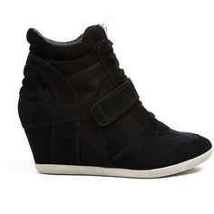 Ash Black Suede And Canvas Bowie Wedge Trainers (€180) ❤ liked on Polyvore featuring shoes, sneakers, zapatos, wedges, black suede sneakers, lace up wedge sneakers, ash sneakers, high wedge sneakers and black canvas shoes