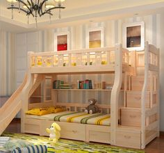 wood bed multi-function box Children's bed With a desk drawer slide bed rural style