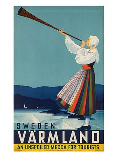 Vintage Art Deco Giclee Poster Print SWEDEN by EncorePrintSociety