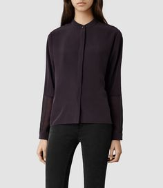 Explore our range of women's tops & shirts and classic blouses. Rock Chic, Cool Style, My Style, Discount Clothing, All Saints, Long Sleeve Tops, Purple, Jackets, Shirts