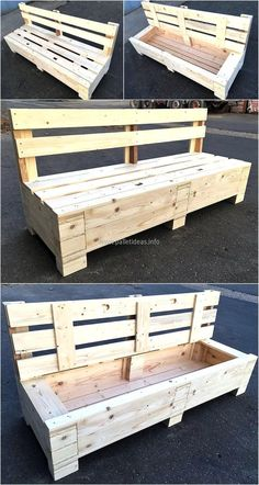 wooden pallet bench with storage plan Pallet Crafts, Diy Pallet Projects, Pallet Ideas, Wood Projects, Woodworking Projects, Garden Projects, Outside Furniture, Diy Holz, Diy Pallet Furniture