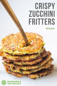 Zucchini Fritters made crispy, tasty and wholesome with wholewheat flour, chickpea flour, herbs and spices. Tasty Vegetarian Recipes, Veg Recipes, Vegan Recipes Easy, Snack Recipes, Vegan Zucchini Fritters, Zuchinni Recipes, Flour Recipes