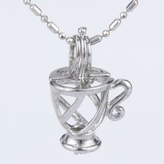 Coffee Tea Cup Pearl Cage Pendant with Chain