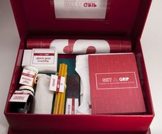 Get a Grip // Surviving Design School Kit Client // George Brown CollegeCompleted // April a Grip was designed as part of my final thesis project as George Brown College. Aimed at students currently enrolled in design school, it helps them in… Employee Handbook, New Employee, Company Swag, Company Gifts, Sales Kit, School Kit, Employer Branding, Client Gifts, Press Kit