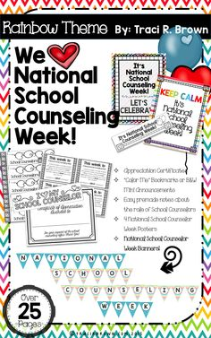 Happy National School Counseling Week! Here is a great bundle to celebrate all the hard work school counselors do! Features a rainbow theme! Show the school counselors you love and how much you appreciate them!