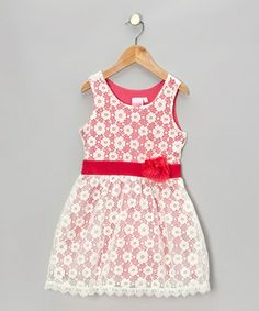 Take a look at this White & Pink Lace Dress by Lipstik Girls on #zulily today!