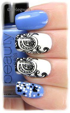 Nail Art by Belegwen: Gina Tricot - Minty Lavender, White, Salt & Pepper