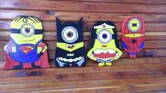 Set of 4 Wooden Super Hero Minions by Pamelaswoodcrafts on Etsy, $40.00