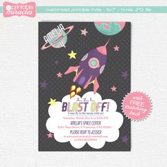 MyPrintableMiracles: Pink purple rocket invitation Girls space birthday invitation Printable outer space party invite card for kids (12.00 USD)