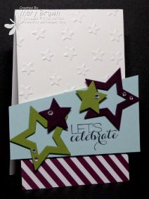 aug 14   Whisper White, Blackberry Bliss, Old Olive, Soft Sky, Moonlight dsp Paper Pack  Ink: Memento Black  Other: Star Framelits, Lucky Stars Embossing Folder, Basic Rhinestones, Dimensionals