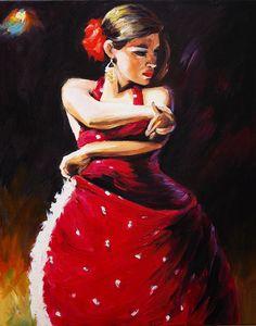Duende Flamenco Dancer Art Oil Painting on Canvas Contemporary Home Decor 16x20