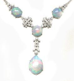 18k White Gold Diamond and White Opal Necklace   New York Estate Jewelry   Israel Rose