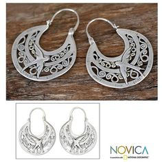 NOVICA Unique Animal Themed Vintage Style Silver Bird Hoop Earrings ($93) ❤ liked on Polyvore featuring jewelry, earrings, hoop, sterling silver, silver animal earrings, novica earrings, animal jewelry, silver earrings and vintage looking jewelry