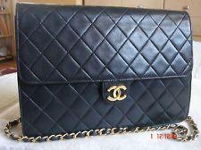 Authentic vintage CHANEL Lamb Skin Matelasse Gold Chain Shoulder Bag- Black