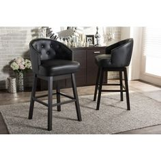 Shop for Baxton Studio Avril Contemporary Black Faux Leather Tufted Swivel Barstool with Nail Heads Trim (Set of 2). Get free shipping at Overstock.com - Your Online Furniture Outlet Store! Get 5% in rewards with Club O!