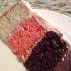 Neopolitan cake with homemade whipped cream cheese & strawberry filling. Whipped Cream Cakes, Homemade Whipped Cream, Neapolitan Cake, Decadent Cakes, Strawberry Filling, Christmas Lunch, Cake Decorating, Cheese, Baking
