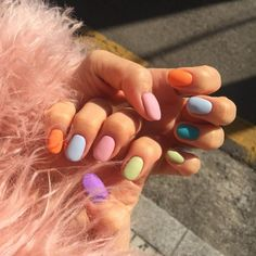 The best new nail polish colors and trends plus gel manicures, ombre nails, and nail art ideas to try. Get tips on how to give yourself a manicure and. Gradient Nails, Fun Nails, Rainbow Nails, Acrylic Nails, Coffin Nails, Rainbow Pastel, Gold Nails, Clean Nails, Stiletto Nails