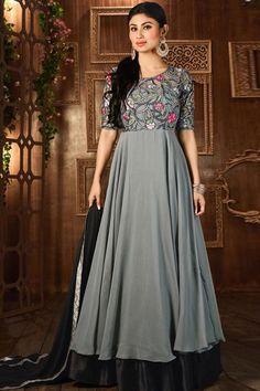 Grey & Black Georgette Semi Stitch Anarkali Suit