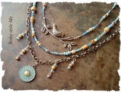 Bohemian Beaded Necklace, Multiple Strands, Blue Bird Jewelry, Hand Knotted, Nature Lover, BohoStyleMe, Kaye Kraus by BohoStyleMe on Etsy