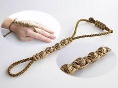 How to Make a Paracord/Shamballa Style Wrist to Ring Bracelet-Indian Bridal Haath Phool Bracelet - YouTube