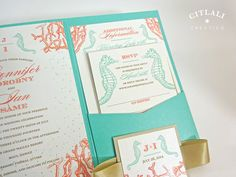 Coral Reef Wedding Invitations By Concertina Press