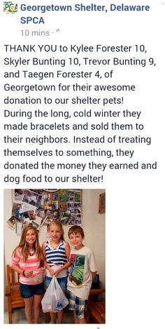 * AKA * (Awesome Kid Alert!!).....there must be some proud parents out there who showed them kindness and caring for others does matter! Thank you guys!!