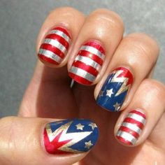 4th of July nail designs - Few Amazing Ideas - Fashion Diva Design (u can use the same color nails for labor day, 4th of July, an memorial day the red,white and blue) nice☺