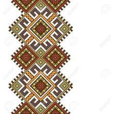 Illustration of Vector illustration of ethnic ukrainian seamless pattern. Slavic national ornament, pixel style vector art, clipart and stock vectors. Cross Stitch For Kids, Cross Stitch Charts, Cross Stitch Embroidery, Embroidery Patterns, Hand Embroidery, Cross Stitch Patterns, Print Patterns, Handmade Clutch, Handmade Bags