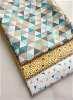 Lot de 3 coupons fat quarter, tissu coton imprimé triangles tendance scandinave : Tissus Habillement, Déco par la-mercerie-d-elyzza