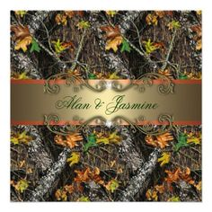 Formal Camo Wedding Invitations.  These camouflage invitations are ready to be customized with your wedding details.