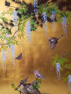 Japanese Painting, Japanese Art, Art Deco Bedroom, Feuille D'or, Chinoiserie Wallpaper, Mural Wall Art, Painted Leaves, Motif Floral, Bird Drawings