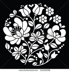 Kalocsai white embroidery - Hungarian round floral folk art pattern on black - stock vector