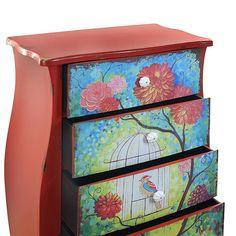 Mueble cajones vintage rojo