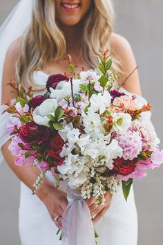 Pink, red and white wedding bouquet | Holly Prins Photography