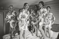 Bride and bridesmaids floral robes. Great photo ideas!