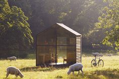 Stunning shed built from sustainable materials has ability to rotate for 'perennial sun-chasing.'