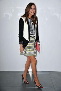 Olivia Palermo attends the Preen collection for Autumn/Winter at London Fashion Week.