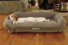 Bought these great beds tht they love and nap in during the day...but at night...still can't keep them off the bed!!...Just found this Large Fleece Dog Bed - Fleece-Lined Deep Dish -- Orvis on Orvis.com!