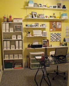 High shelves for photos, etc.  Mount the desk surface higher without a chair.