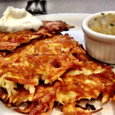 to make shred potatoes at least 10 add diced onion 10 eggs and a pound bacon fried and cut up mix together make into pancakes they will be runny, cook serve with applebutter or apple sauce you will LOVE these!!!!