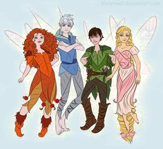 Crossover of Brave, Tangled, How to Train Your Dragon and Rise of the Guardians with Tinkerbell hahaha I found many sketches of as a year ago and among them were many fairies so why don't use it? x...